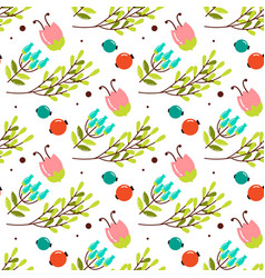 cute seamless pattern with forest plants for vector image vector image