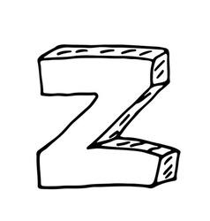 English alphabet - hand drawn letter Z vector image
