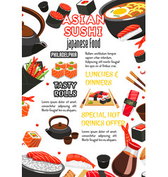 japanese food sushi roll and drink menu banner vector image vector image