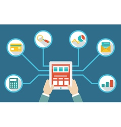 Management of money by means of tablet pc vector image