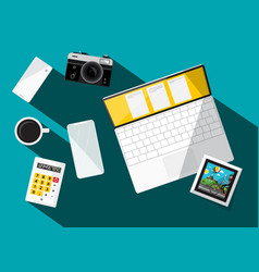 modern technology devices on table vector image vector image
