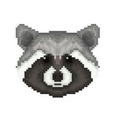 raccoon head in pixel art style vector image vector image