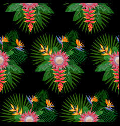 tropical seamless pattern with protea vector image