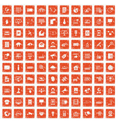 100 telecommunication icons set grunge orange vector