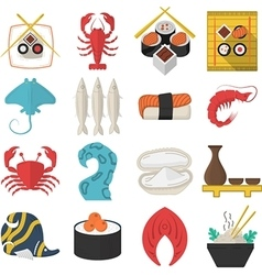 Asian seafood flat color icons vector image