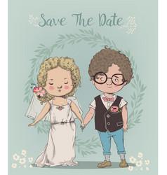 cute little wedding couple vector image vector image