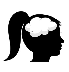 Female silhouette with brain vector image vector image