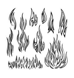 flame fire set sketch vector image