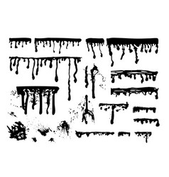 ink paint streaks spots and splatters set vector image