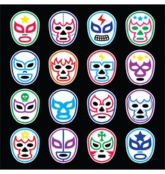 Lucha Libre Mexican wrestling masks icons on black vector image