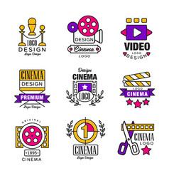 cinema logo design set video symbols in retro vector image vector image