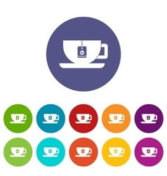 Cup of tea with tea bag set icons vector image
