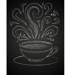Drawing of a cup of coffee on blackboard vector image vector image