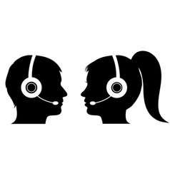Male and female operator in call center vector image