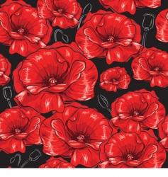 poppies seamless wallpaper vector image vector image