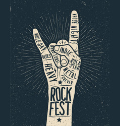 rock festival poster flyer vector image
