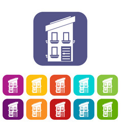 two-storey house icons set vector image vector image