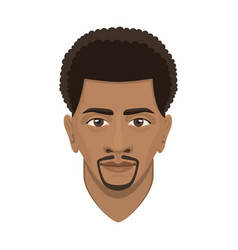 young afro man avatar character male face portrait vector image