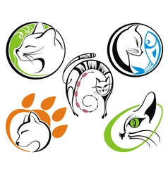 Cat silhouette collections vector image vector image