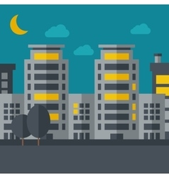 Night scenery of building city with moon vector