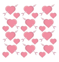pink hearts arrows seamless pattern design vector image vector image