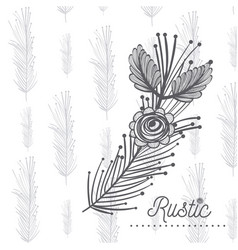 rustic flower hand drawn vector image vector image