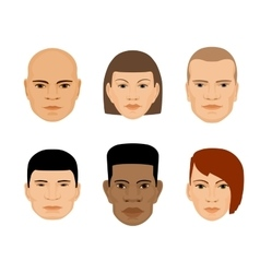 set of human faces different gender and ethnicity vector image