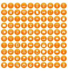 100 network icons set orange vector