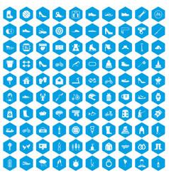 100 shoe icons set blue vector
