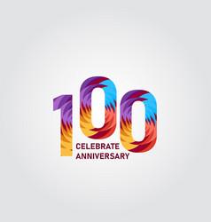 100 year anniversary elegant rainbow template vector