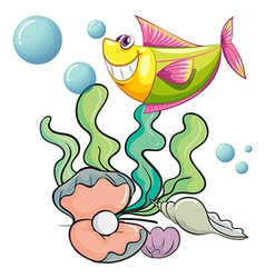 A smiling fish under the sea near the shells vector image