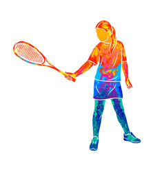 Abstract young woman does an exercise vector