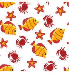 aquatic creatures fish and crab seastar seamless vector image
