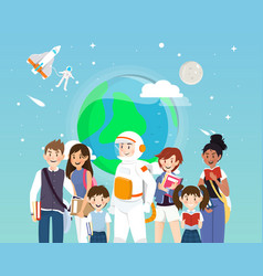 astronauts and students in space concepts vector image