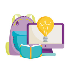 back to school computer book backpack idea vector image