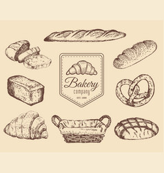 bakery goods and sweets sketches set hand vector image