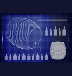 barrel on a blue background vector image