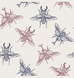 beetles hand draw sketch seamless pattern vector image