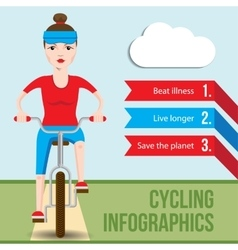 Bicycle infographics concept with front view of vector image
