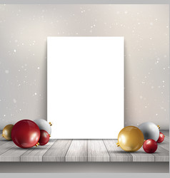 Blank canvas on wooden table with christmas vector