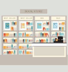 Bookstore with bookshelves vector
