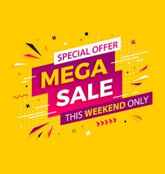 Bright modern mega sale banner for advertising vector