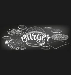 burger hamburger hand drawn vector image