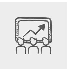 Businees growth sketch icon vector