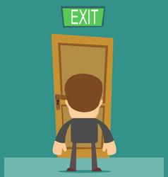 Businessman standing in front of closed doors vector