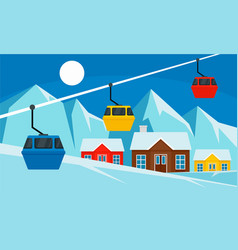 cable car ski resort banner flat style vector image