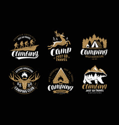 Camping hike logo or emblem hiking trip vector