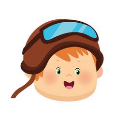 Cartoon boy with aviator glasses and helmet vector