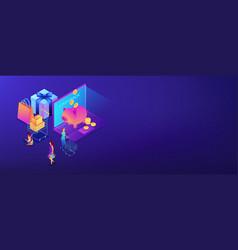 cash back isometric 3d banner header vector image