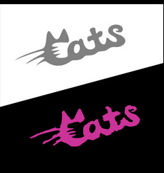 cats word stylish fashion logo with ears and vector image